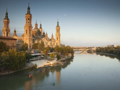 Spain, Aragon Region, Zaragoza Province, Zaragoza, Basilica De Nuestra Senora De Pilar on the Ebro -Walter Bibikow-Photographic Print