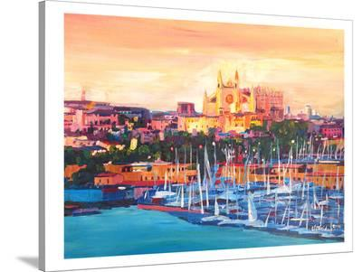 Spain Balearic Island Palma De Mallorca With Harbour And Cathedral Neu-M Bleichner-Stretched Canvas Print