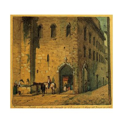 Spain, Barcelona, Duke of Medinaceli Square. Fountain and Entrance at the Saint Francis Convent--Giclee Print