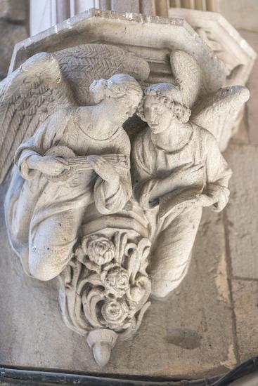 Spain, Barcelona, Stone Carving, Angels-Jim Engelbrecht-Photographic Print
