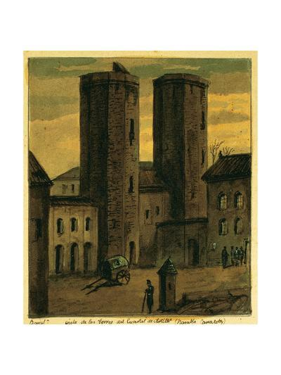 Spain. Barcelona. Towers of Canaletas and the Entrance to the Quarters of Artillery--Giclee Print