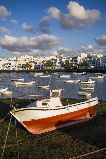 Spain, Canary Islands, Lanzarote, Arecife, Charco De San Gines, Fishing Boats, Dawn-Walter Bibikow-Photographic Print