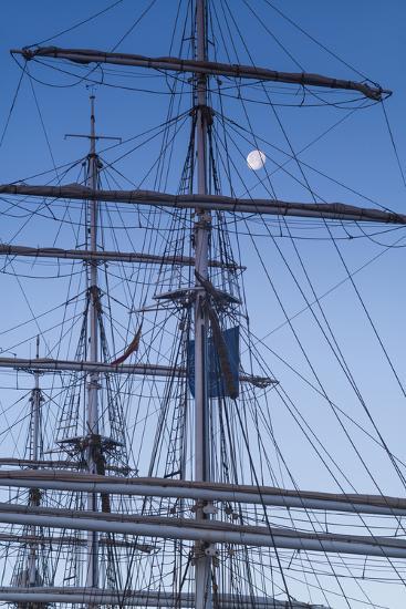 Spain, Canary Islands, Lanzarote, Arecife, Norwegian Tall Ship Christian Radich in Port, Dawn-Walter Bibikow-Photographic Print