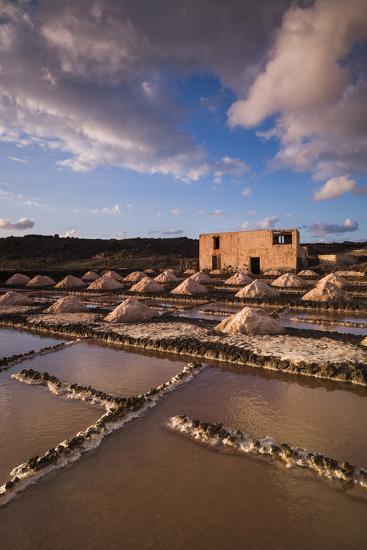 Spain, Canary Islands, Lanzarote, El Golfo, Salinas De Janubio, Salt Evaporation Pans, Sunset-Walter Bibikow-Photographic Print