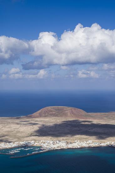 Spain, Canary Islands, Lanzarote, Ye, Elevated View over Isla Graciosa Island-Walter Bibikow-Photographic Print
