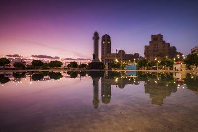 Spain, Canary Islands, Tenerife, Santa Cruz De Tenerife, Plaza De Espana, City Reflection, Dawn-Walter Bibikow-Photographic Print