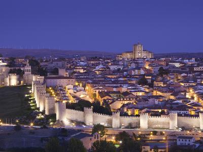 Spain, Castilla Y Leon Region, Avila Province, Avila, Las Murallas, Town Walls, Elevated View-Walter Bibikow-Photographic Print