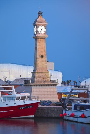 Spain, Catalonia, Barcelona, Harbour, Ccastle Tower, Ships, Dusk-Rainer Mirau-Photographic Print
