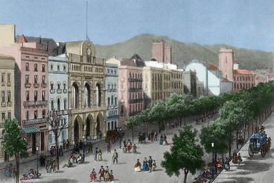 Spain. Catalonia. Barcelona. Lithography. La Rambla and the Gran Teatro Del Liceo (Opera House)