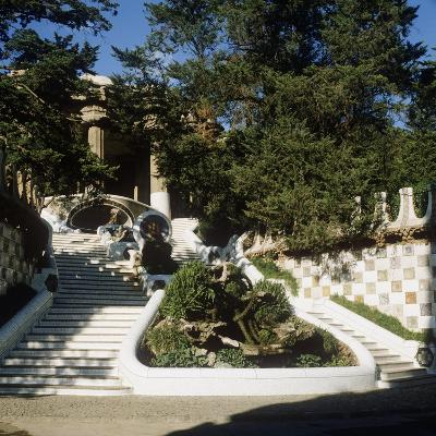 Spain, Catalonia, Barcelona, Staircase in Park Guell--Giclee Print