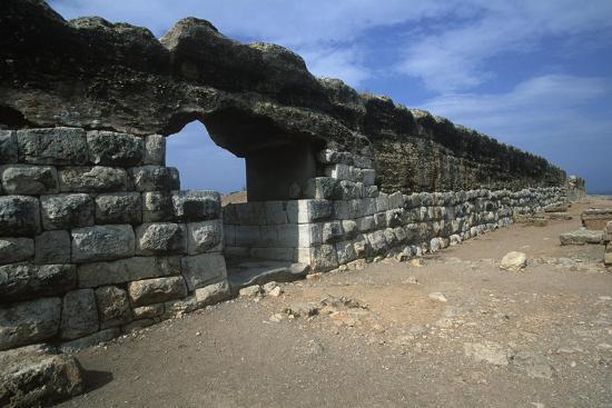 Spain, Catalonia, La Escala, Roman Ampurias, City Walls--Giclee Print