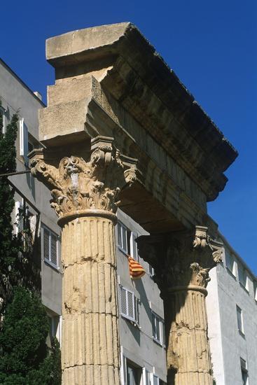 Spain, Catalonia, Tarragona, Ruined Columns at Roman Forum--Giclee Print