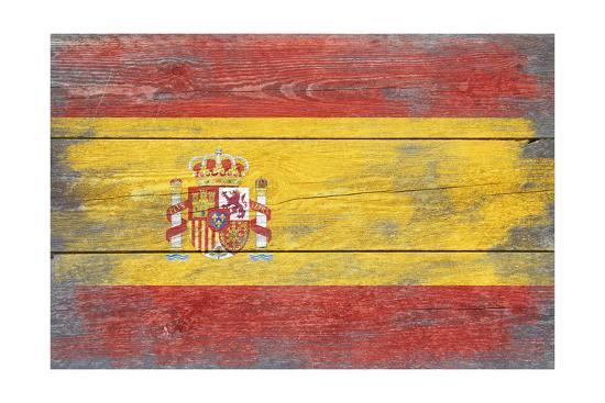 Spain Country Flag - Barnwood Painting-Lantern Press-Art Print
