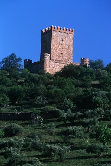 Spain, Extremadura, Nogales, Castle, Detail of Tower--Giclee Print