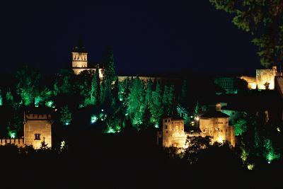 Spain. Granada. Alhambra. Night View--Photographic Print