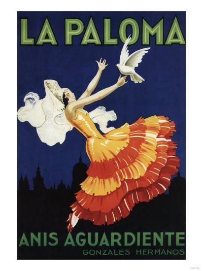 Spain - La Paloma - Anis Aguardiente Promotional Poster-Lantern Press-Art Print
