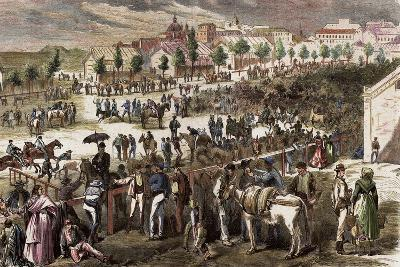 Spain, Madrid, 19th Century, Cattle Market on the Outskirts of the Toledo's Gate--Giclee Print