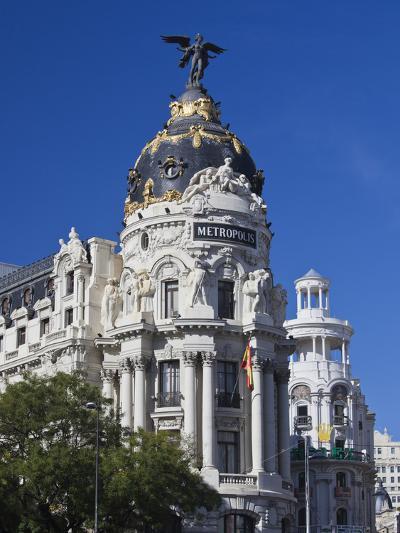 Spain, Madrid, Centro Area, Metropolitan Building-Walter Bibikow-Photographic Print