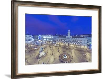 Spain, Madrid, Looking Down on Puerta Del Sol at Twilight-Rob Tilley-Framed Photographic Print