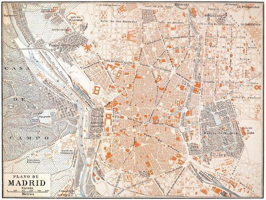 Map Of Spain To Print.Spain Madrid Map C1920 Giclee Print By Art Com