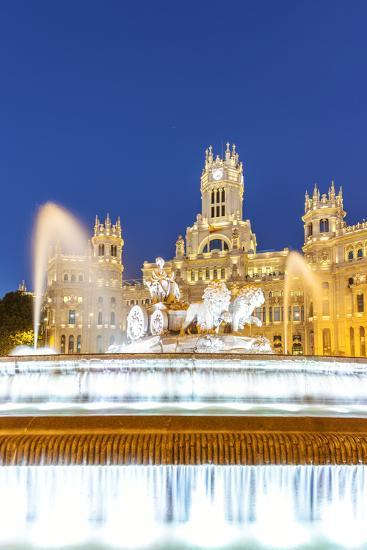 Spain, Madrid. Plaza De Cibeles with Famous Fountain and Town Hall Building Behind-Matteo Colombo-Photographic Print