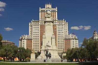 Spain, Madrid, Plaza De Espana, Monument, Don Quijote-Chris Seba-Photographic Print