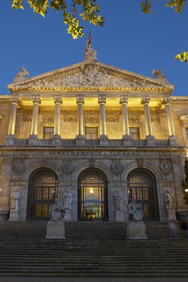 Spain, Madrid, State Archive, National-Library, Illuminates, Outside, Twilight-Chris Seba-Photographic Print