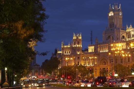 Spain Madrid Street Scene Calle De Alcala Plaza De Cibeles Palacio De Comunicaciones Evening Photographic Print By Chris Seba Art Com