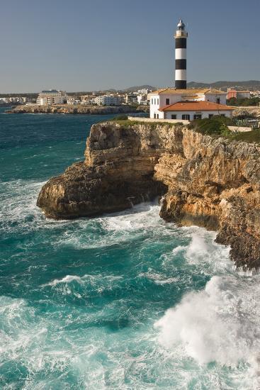 Spain, Majorca, Portocolom, Townscape, Lighthouse-Thomas Ebelt-Photographic Print