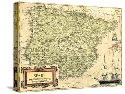 Spain Map-Vision Studio-Stretched Canvas Print