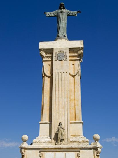 Spain, Menorca; Statue of Christ at Monte Toro, the Highest Point on the Island-John Warburton-lee-Photographic Print