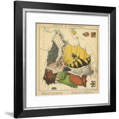 Spain & Portugal, Geographical Fun: Being Humourous Outlines of Various Countries, 1869-Lilian Lancaster-Framed Giclee Print