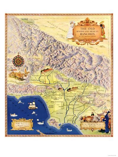 Spanish and Mexican Ranchos of Los Angeles - Panoramic Map-Lantern Press-Art Print