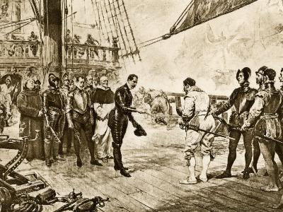 Spanish Armada's Admiral Surrenders His Sword to Francis Drake, c.1588--Photographic Print