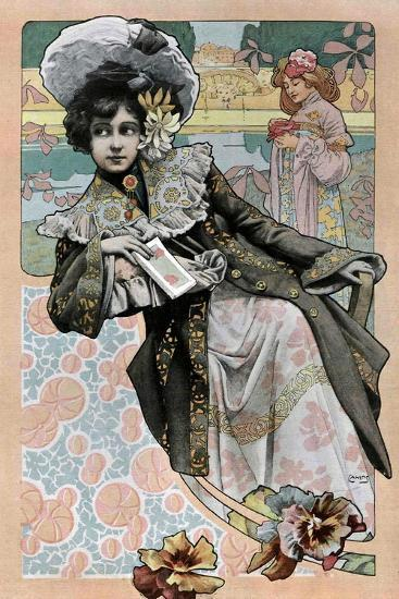 Spanish Art Nouveau Girl With Catalog- Camps-Art Print