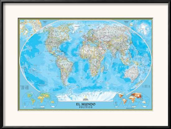 Spanish Classic World Map Framed Art Print By National Geographic