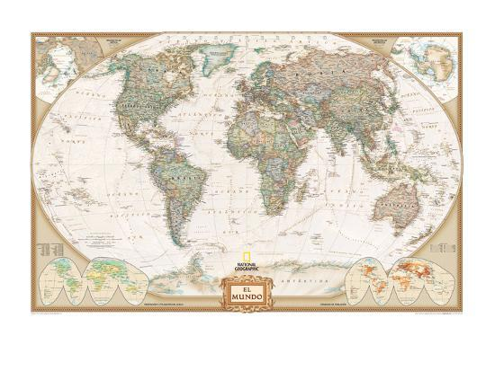 Spanish Executive World Map Art Print By National Geographic Maps