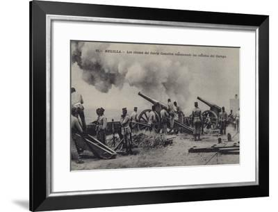 Spanish Howitzers of Fuerte Camellos Bombarding the Ravines of Mount Gurugu--Framed Photographic Print