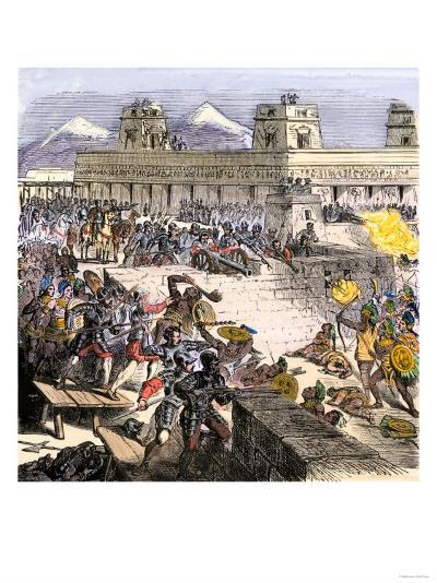 Spanish Invaders Attacked by the Aztecs in Tenochtitlan during la Noche Triste, c.1520--Giclee Print