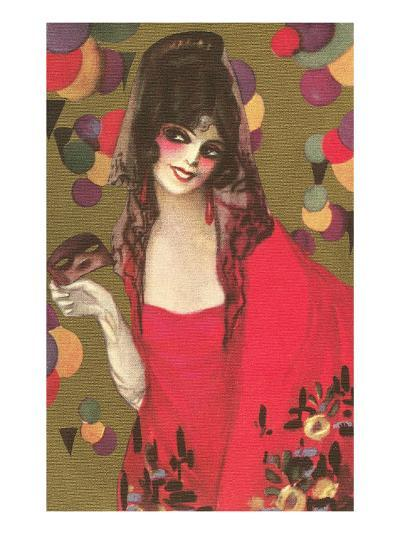 Spanish Lady with Mantilla--Art Print