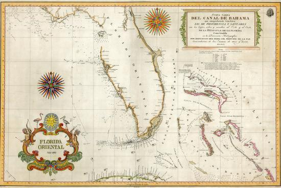 Spanish Map of Florida and the Bahamas, 1805 Giclee Print by | Art.com