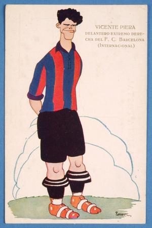 Postcard Depicting a Caricature of the Spanish Footballer Vicente Piera of Barcelona