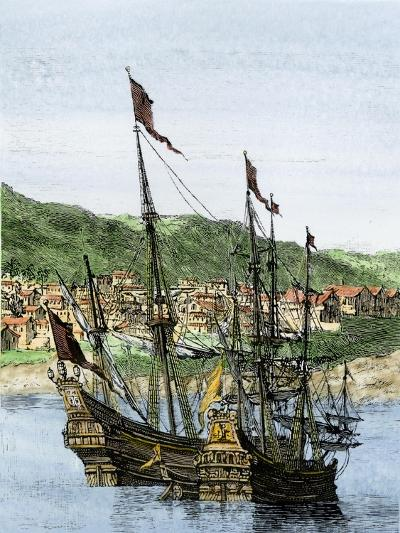 Spanish Ships in a Colonial Port--Giclee Print
