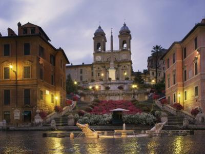 Spanish Steps Illuminated in the Evening, Rome, Lazio, Italy, Europe