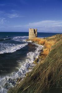 Spanish Tower of Abbacurrente, before its Restoration, Platamona, Sardinia, Italy