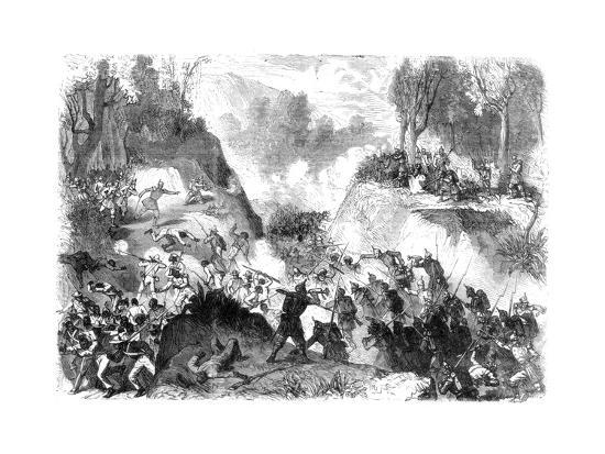 Spanish Troops Fighting the People of Santo Domingo, in the Pass of Monte Christi, 1864--Giclee Print