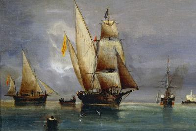 Spanish Xebec, Oil on Canvas, by Cheri Dubreuil, 19th Century--Giclee Print