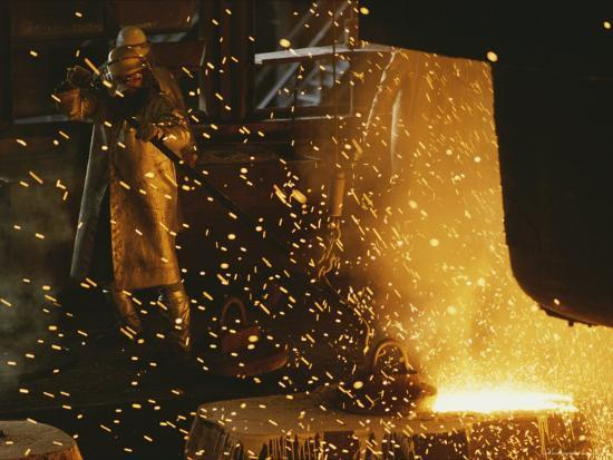 Sparks Fly from a Steel Furnace, Utah-James P^ Blair-Photographic Print