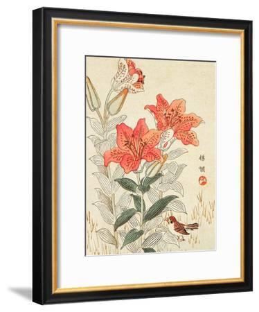 Sparrow and Tiger Lilies-Bairei Kono-Framed Giclee Print