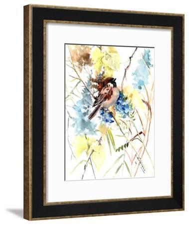Sparrow In The Field-Suren Nersisyan-Framed Art Print